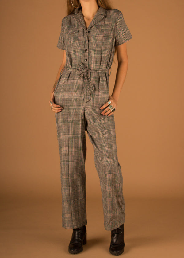 Verdi Tailored Jumpsuit - Black Plaid