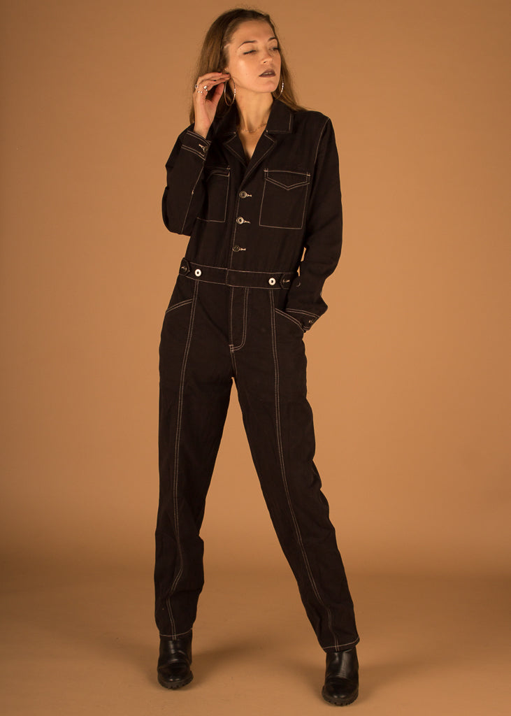 Reagan Long Sleeve Jumpsuit w/ Contrast Stitching