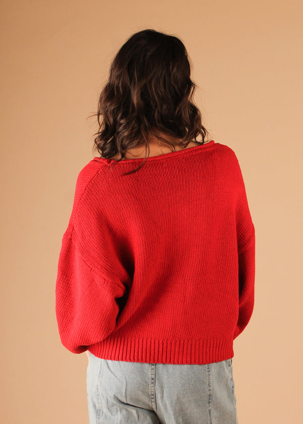 Cupid Red Knit Cardigan