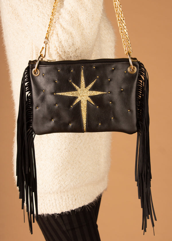 Celestial Black & Gold Fringe Crossbody