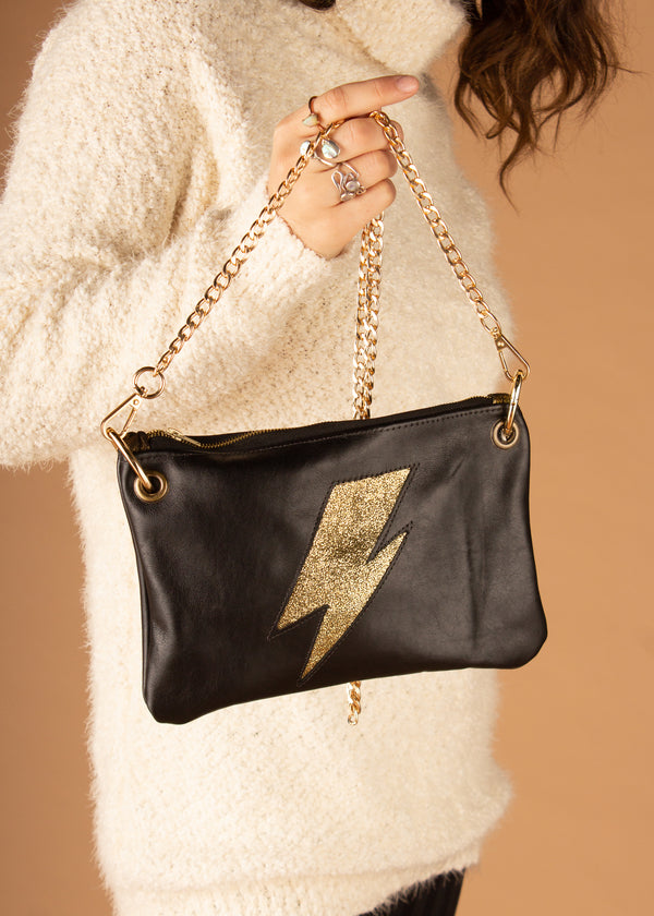Ziggy Bolt Black And Gold Plain Crossbody