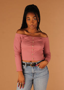 Ribbed Mauve Long Sleeve