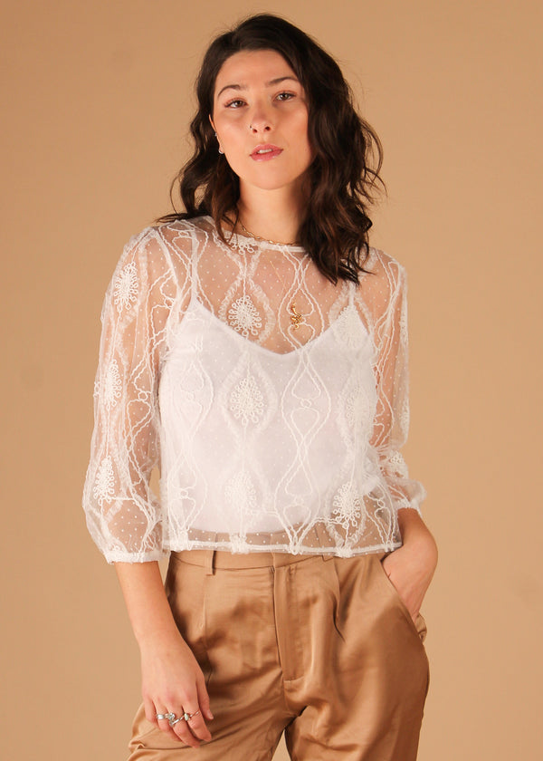 Leaf White Lace Long Sleeve Top