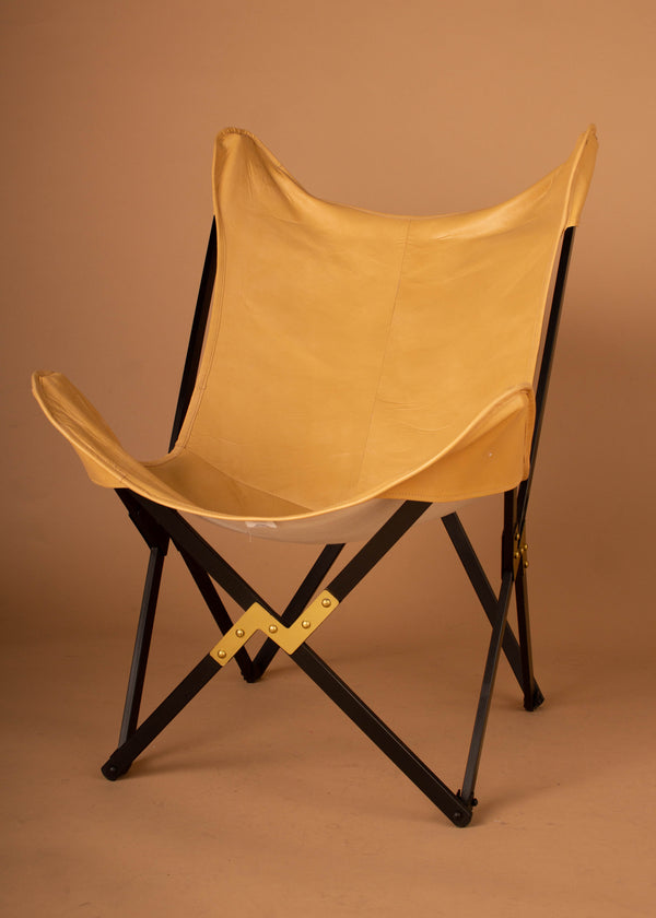 Leather & Metal Foldable Butterfly Chair - Natural