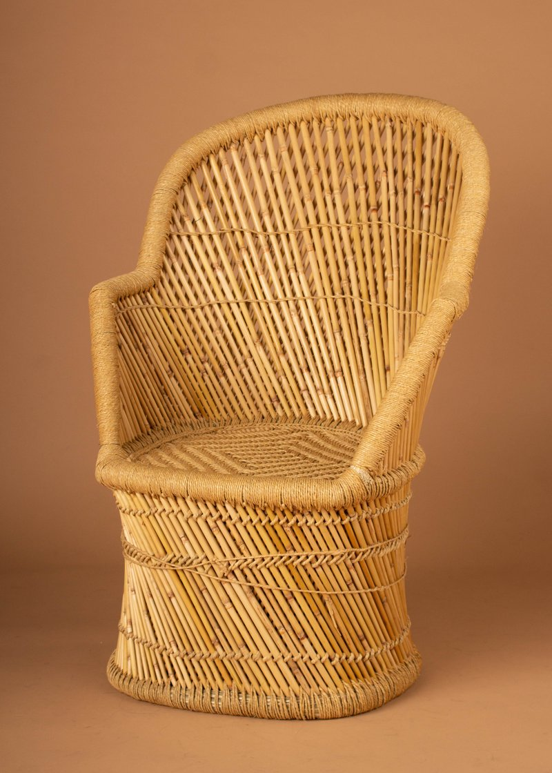 Handwoven Bamboo and Wicker Chair