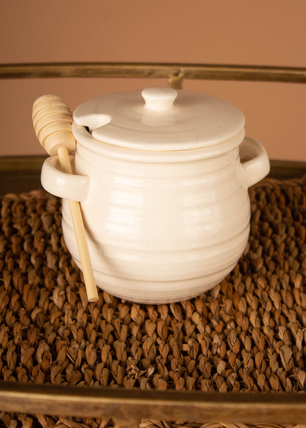 Stoneware Honey Jar