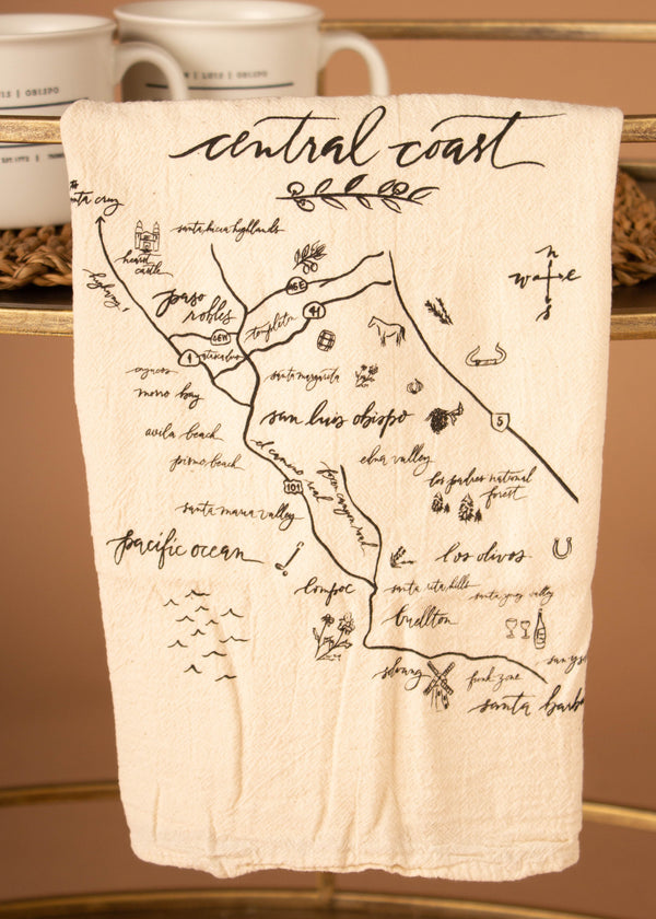Central Coast Map Tea Towel