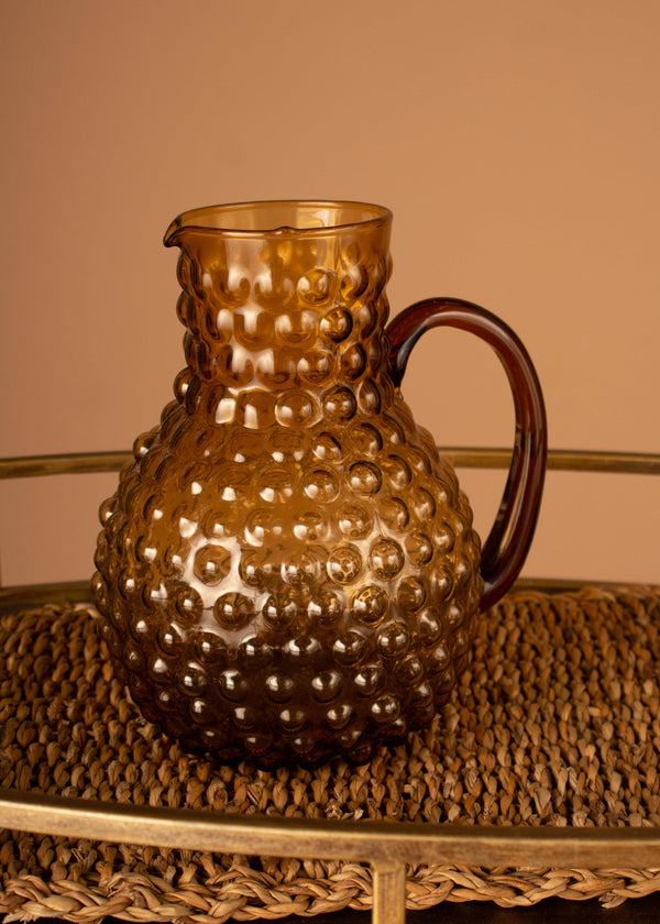 Glass Hobnail pitcher - Amber