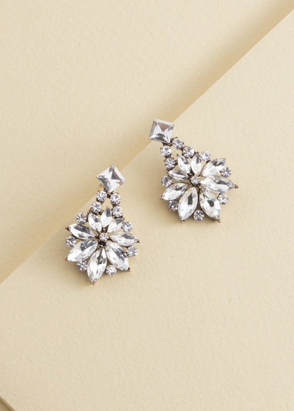 Crystal Stone Floral Chandelier Earring