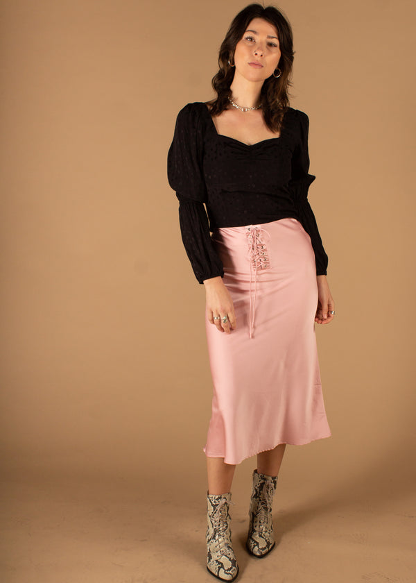 Yee Lace Up Satin Midi Skirt