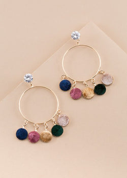 Crystal Post Circle Earring W/ Velvet Drop