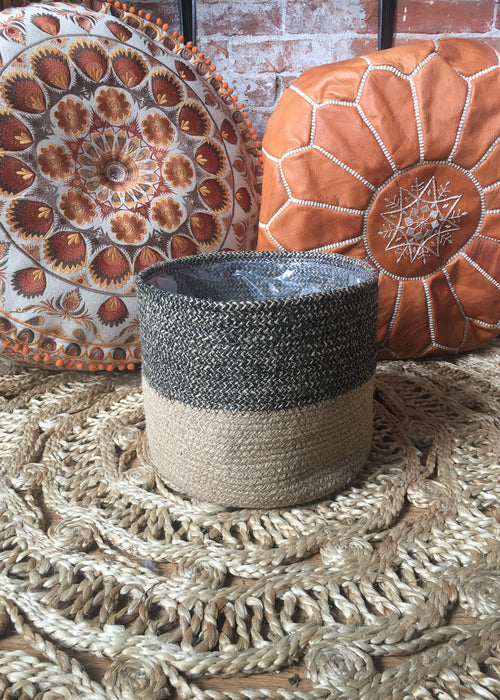 Black Jute Basket Planter