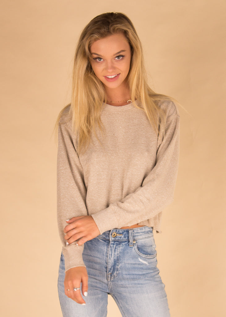 The Triblend Long Sleeve Cropped Tee - Simply Taupe