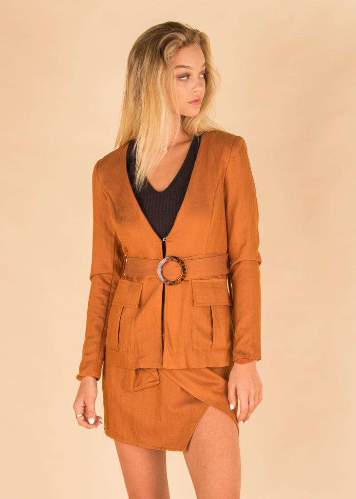 Burnt Sienna Ring Wrap Blazer