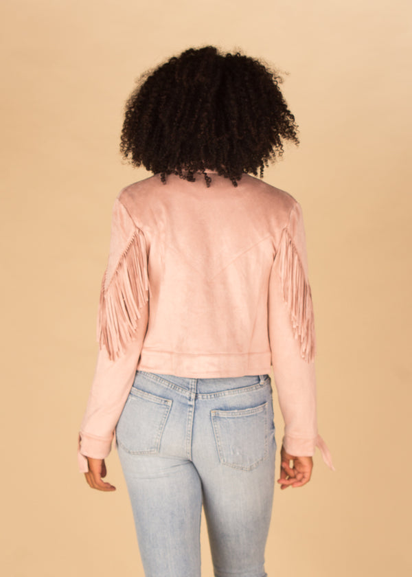 Spacey Kacey Pink Fringe Jacket