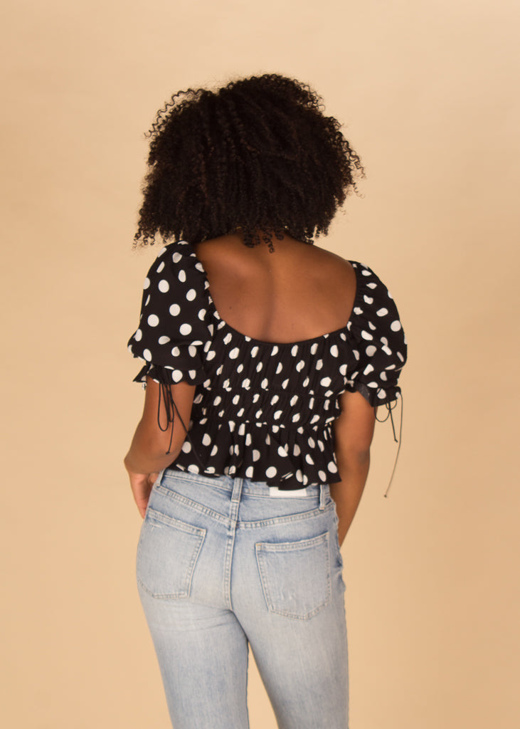 Mochi Summer Blouse in Noir Dot