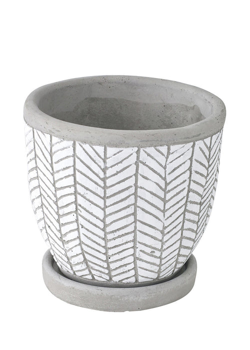 Herringbone Planter White