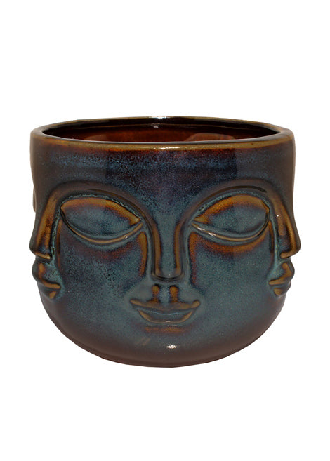 Six Faces Reactive Glaze Pot