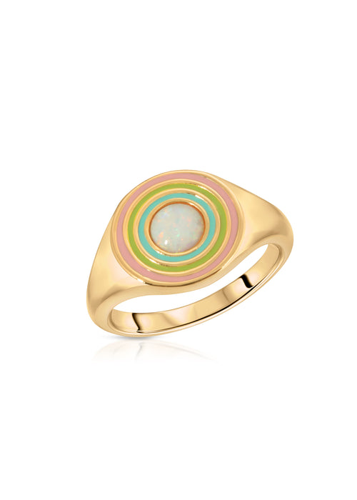 Rainbow Signet Ring White Opal