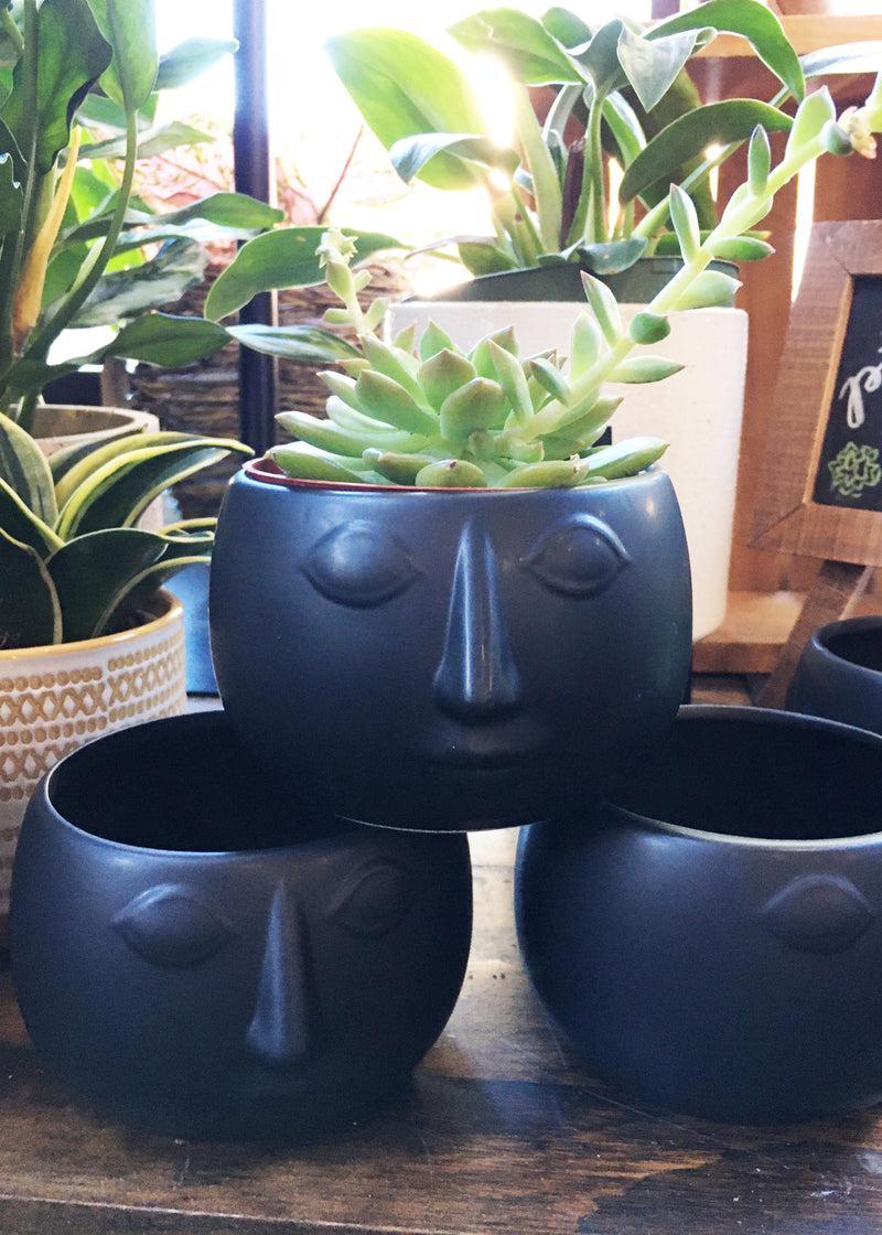 Mod Face Ceramic Pot Black