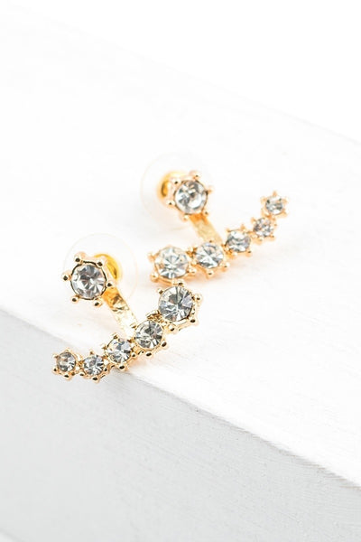 Cascade Rhinestone Front Back Earrings