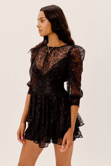 Mindy Mini Dress - Black Lace