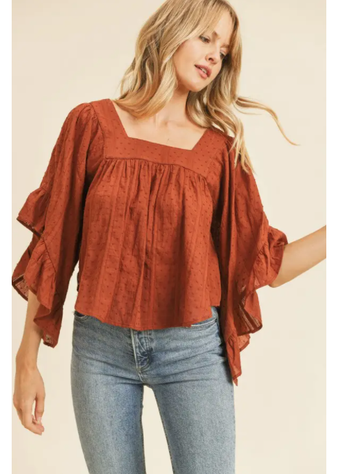 Flutter Sleeve Peasant Blouse