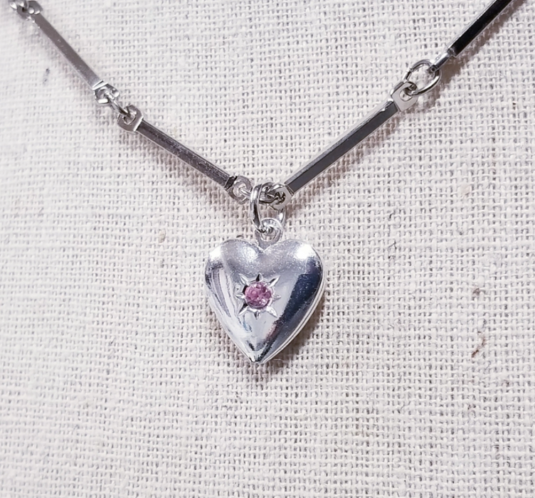 Barred Heart Locket Necklace
