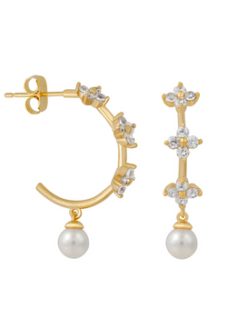 Camellia Pearl Hoops : Gold