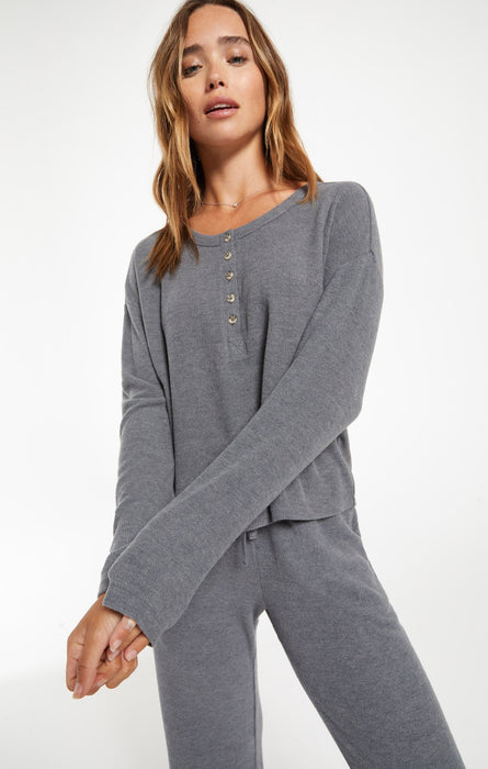 Aimee Henley Rib Top - Pewter