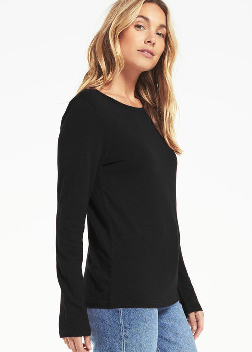 Everyday Brushed Long Sleeve Top Black