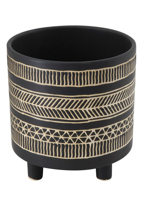 Fishbone Black Footed Pot
