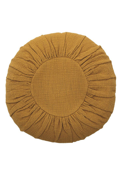Round Cotton Pillow Mustard