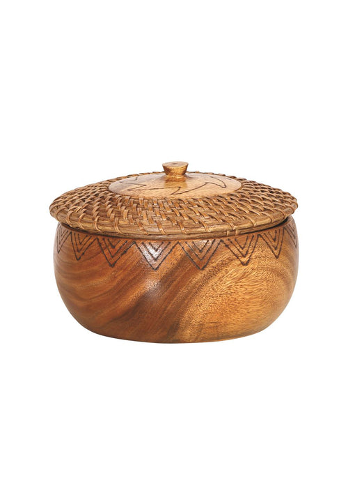 Woven Rattan & Acacia Wood Container w/Lid