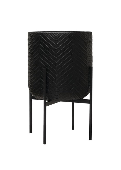 Black Metal Chevron Planter with Stand