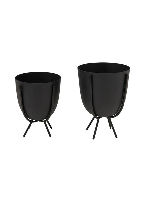 Round Black Metal Planter with Stand
