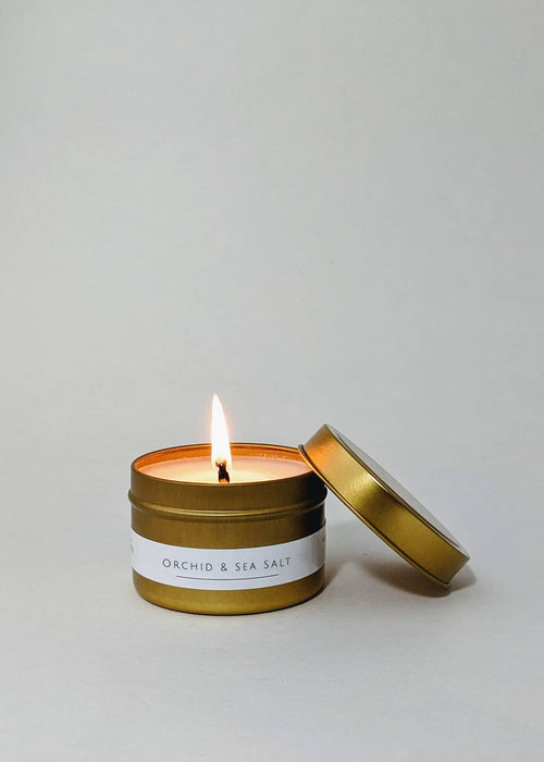 4 oz Gold Tin Candle - Orchid & Sea Salt