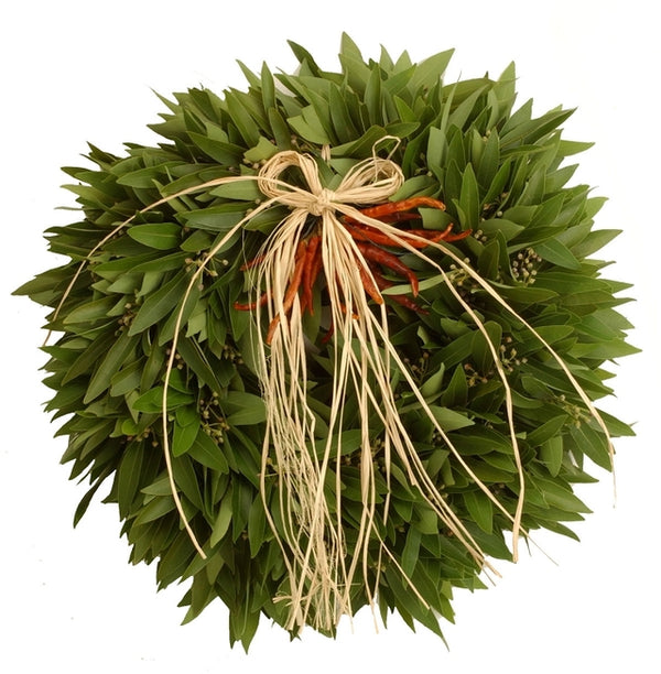 Bay Laurel & Chili Wreath w/ Raffia Bow (Pre-Order)