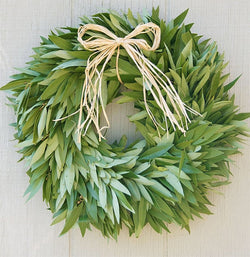 "Bay Laurel Wreath W/ Raffia Bow 16"" (Pre-Order)"