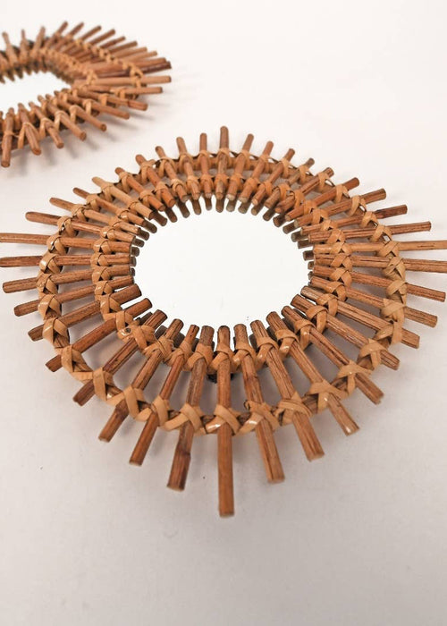 Sun Spike Rattan Wall Mirror