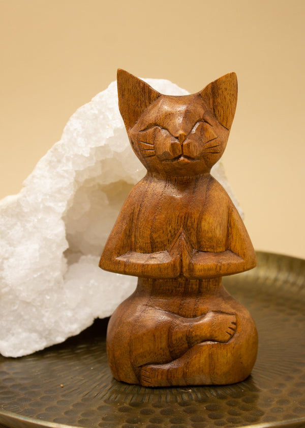 Meditating Cat Wooden