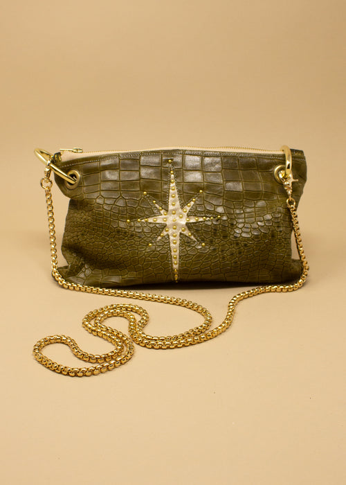 Celestial Green Crock Crossbody Bag - Small