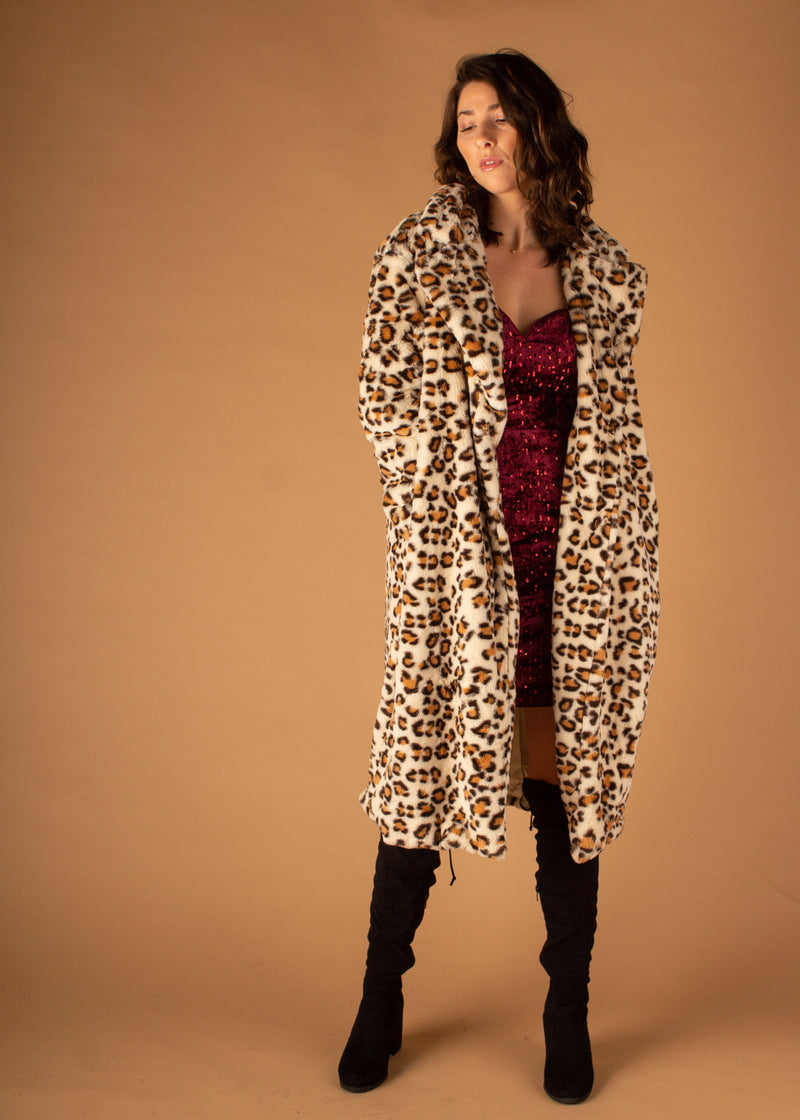 Snow Leopard Faux Fur Coat