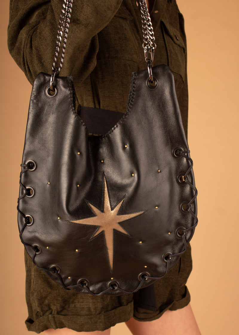 Celestial Black Shoulder Hobo Bag