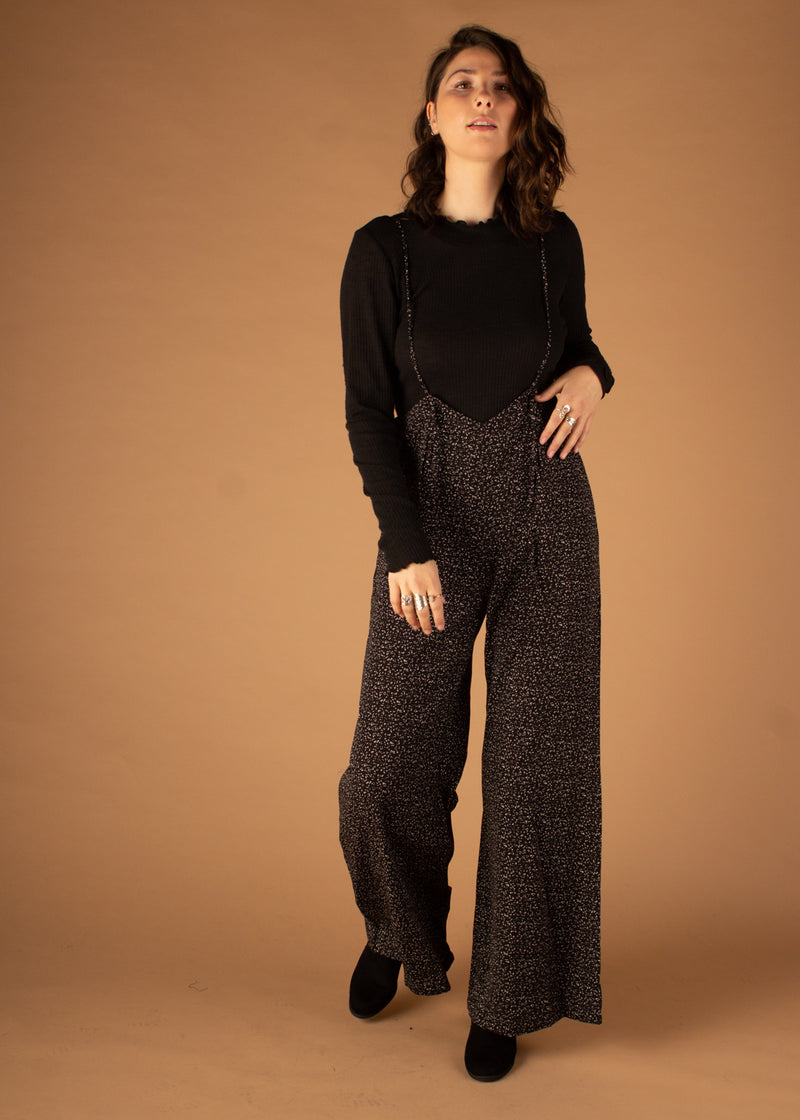Jordan Wide Leg Suspender Jumpsuit - Black/White Speckle