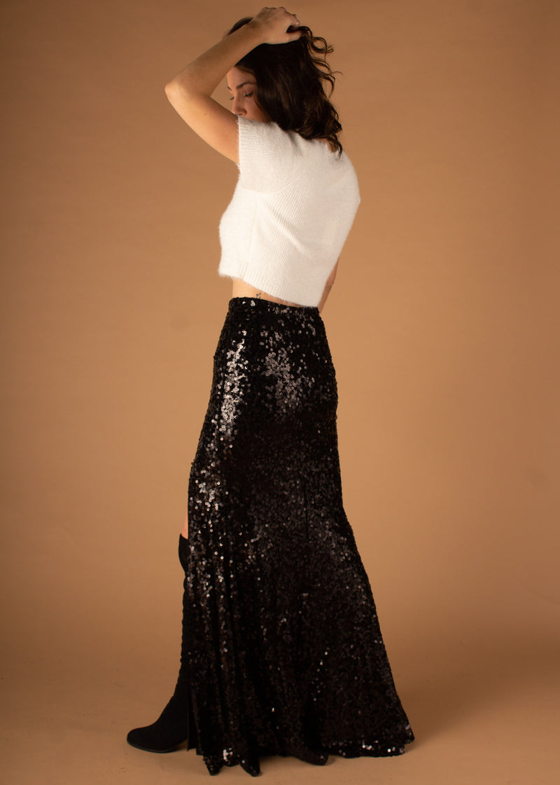 Hold Up Black Sequin Maxi Skirt