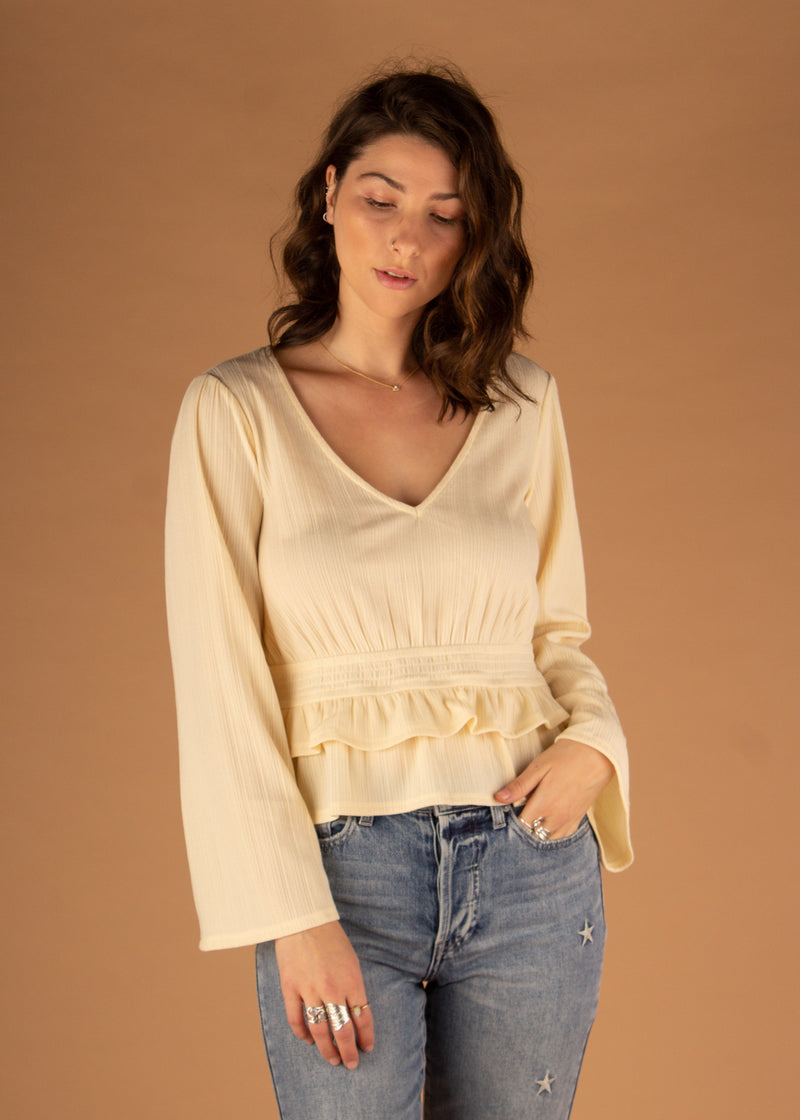 Vanilla Ruffle V-Neck Top