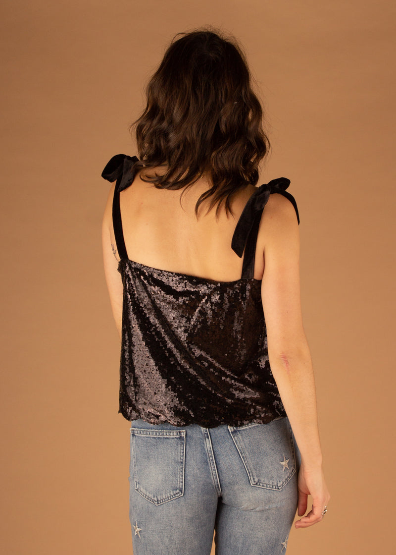Sophie Black Sequin Top