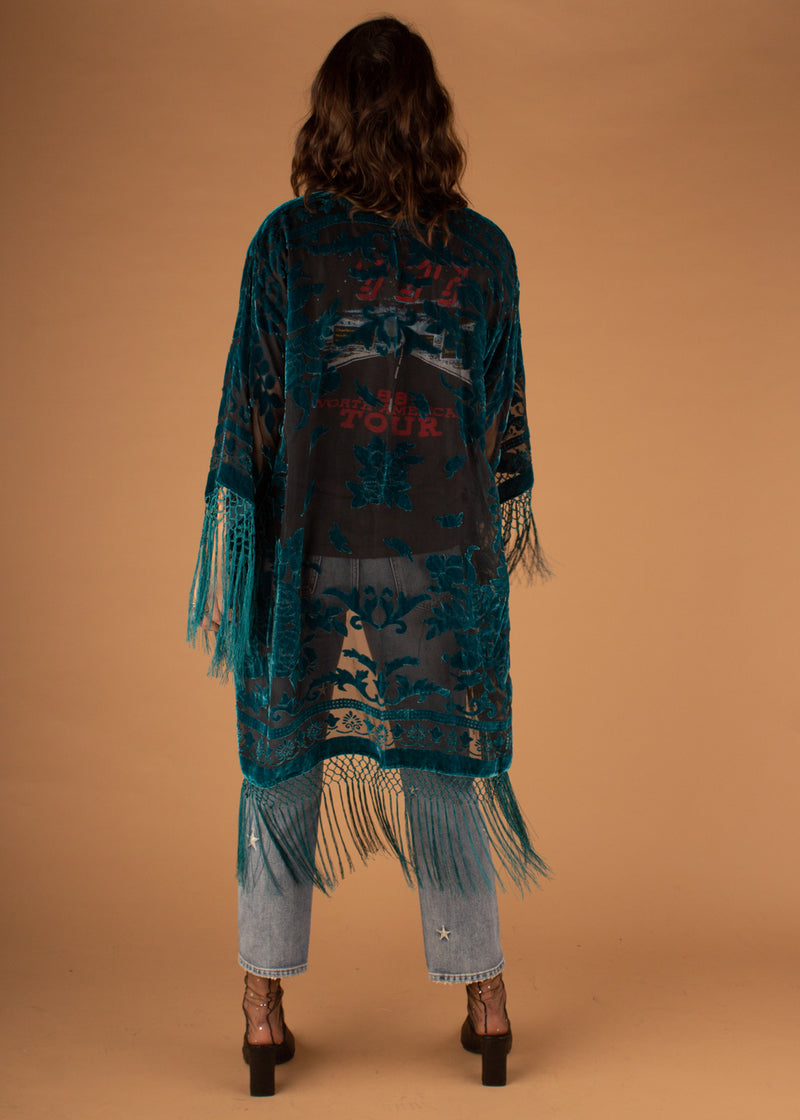 Eva Rose Burnout Long Kimono - Black/Teal
