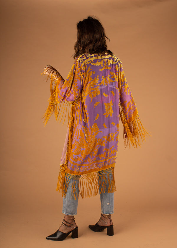 Eva Rose Burnout Long Kimono - Purple/Gold